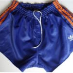 orange and blue adidas shorts retro